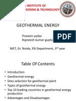 report on geoothermal energy