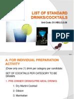 List of 32 Cocktails