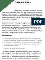 Rafael Trindade - Mecanicismo e Finalismo em Bergson
