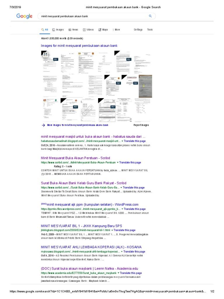 Minit Mesyuarat Pembukaan Akaun Bank Google Search