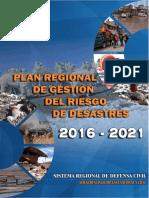 Plan Regional de Gestion de Riesgo de Desastres 2016 - 2021