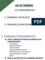 Clases de Fonemas