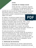 La Demanda en Trabajo Social. de robertis Cristina