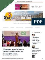 20-06-19 - EHUI - Ponen en marcha nuevo portal para trámites de becas en Sonora