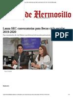 07-06-19 - EL SOL DE HERMOSILLO - Lanza SEC Convocatorias Para Becas Ciclo Escolar 2019-2020 - El Sol de Hermosillo