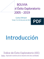 Bolivia - Indice Del Exito Exploratorio 2005 -2019 17 de Junio 2019