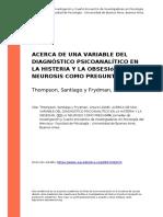 - ACERCA DE UNA VARIABLE DEL DIAGNÓSTICO PSICOANALÍTICO EN LA HISTERIA Y LA OBSESIóN - LA NEUROSIS COMO PREGUNTA