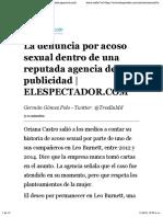 La Denuncia Por Acoso Sexual Dentro de Una Reputada Agencia de Publicidad