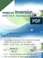 1 Matrix Inversion by Gauss Jordan Elimination