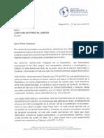 Carta de la  Asociación Diplomática y Consular de Colombia al ex cónsul
