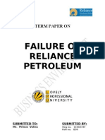 Term Paper on Failure of Reliance Petroleum