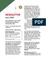Moraga Rotary Newsletter July 2 2019