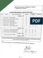 B.Sc. Phy 3rd List
