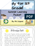 Summer Homework Pack for Rising First Graders