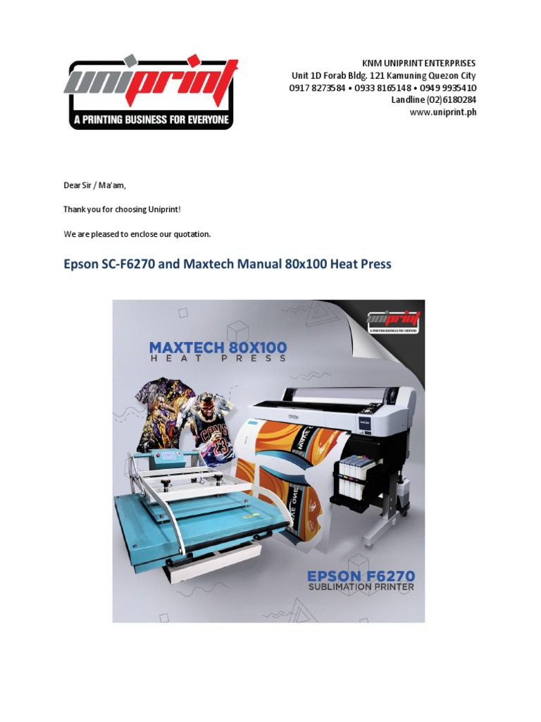 EPSON F6270 and Maxtech Manual 80x100   Printer (Computing