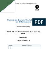 MCVS-O1-106 Normalizacion de La BD