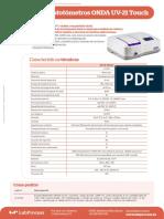 Ficha Tecnica - Espectrofotometros Uv-21 - Onda - Esp v 2.0