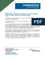 Communiqué du rectorat sur les résultats Du Bac le 5 Juillet
