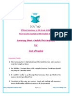 COst of Capital edutap-rbi summary