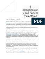 A Globalización y Sus Nuevos Malestares