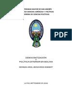 Democratizacion y política exterior en Bolivia