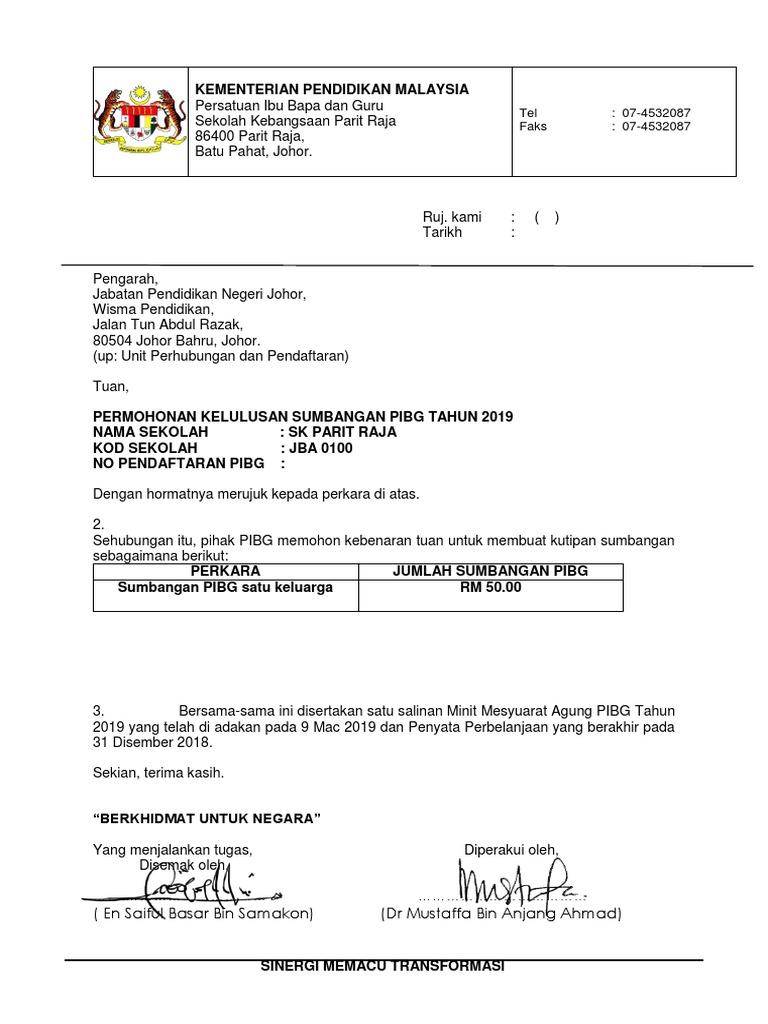 Surat Kebenaran Sumbangan Rm50 Pibg 2019