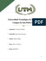 Gladys Muñoz Control de Calidad II Tarea 1 Parcial 1 UTH