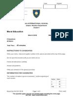 2018 Moral Education Grade 4