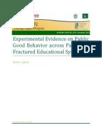 Experimental Evidence on Public Good Behavior Across Pakistans Fractured Educational System