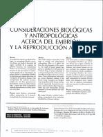 Consideraciones Biologicas y Antropologicas a Cerca Del Embrion y La Reproduccion Asistida