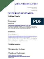 Noticias Del Viernes 05.07.2019