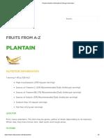 Plantain Nutrition Information & Storage Information
