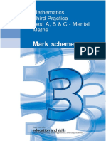 1st Practice Mark Scheme for Maths Test 1 - All Tiers