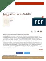 Ann Radcliffe - Los Misterios de Udolfo - Resumen
