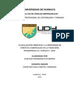 LA EVALUACIÓN CREDITICIA Y LA MOROSIDAD DE CRÉDITOS COMERCIALES EN LA FINANCIERA PROEMPRESA S.A. HUÁNUCO – 2019