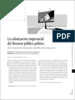La colonización empresarial del discurso público político
