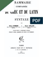 Grammaire comparée du grec et du latin II Syntaxe