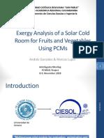 Análisis de exergía de la utilización de PCMs en refrigeración