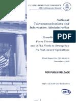 IG of Commerce - NTIA-Broadband Program Faces Uncertain Funding, And NTIA Needs ...OIG-11-005-A 11-08-2010