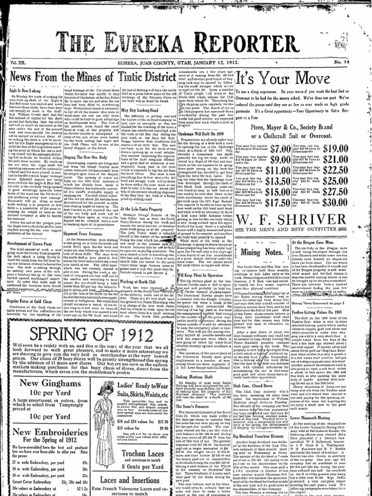 Eureka [Utah] Reporter Jan Jun 1912   Minerals   Economic
