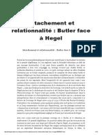 Attachement Et Relationnalité _ Butler Face à Hegel - Page Personnelle de Philippe Sabot
