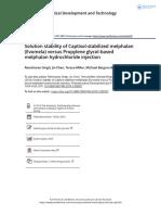 Solution stability of Captisol stabilized melphalan Evomela versus Propylene glycol based melphalan hydrochloride injection.pdf