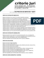 Listado de Precios Gestiones 2018-3 Rrb & Asociados