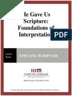 HeGaveUsScriptureFoundationsOfInterpretation.lesson7.Manuscript.english