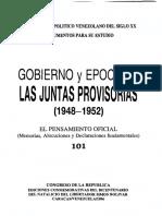 101 - Pensamiento oficial Juntas Provisorias 1948-1952 - Venezuela