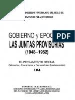 104 - Pensamiento oficial Juntas Provisorias 1948-1952 - Venezuela
