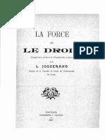 Josserand - La force et le droit