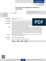 High-Risk Factors for Suppurative Mastitis in Lactating Women