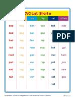 Cvc Word Lists