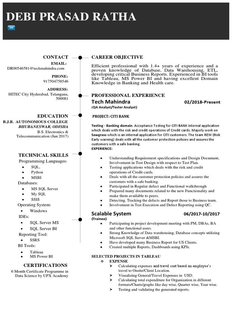 Resume DebiPrasad Tableau Power BI | Microsoft Sql Server